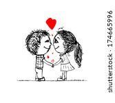 couple in love together ... | Shutterstock .eps vector #174665996