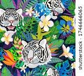 seamless pattern. white tiger... | Shutterstock .eps vector #1746666065
