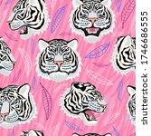seamless pattern. white tiger...   Shutterstock .eps vector #1746686555
