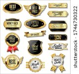 collection of golden badges and ... | Shutterstock . vector #1746730322