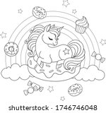 cute unicorn laying on donut...   Shutterstock .eps vector #1746746048