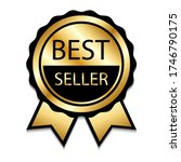 ribbon award best seller. gold... | Shutterstock .eps vector #1746790175