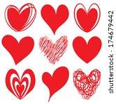 set of grunge vector hearts.... | Shutterstock .eps vector #174679442
