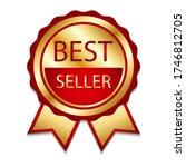 ribbon award best seller. gold... | Shutterstock .eps vector #1746812705