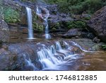Tropical waterfall in the gorge. Nature background. Wentworth falls waterfall in Blue Mountains, Australia