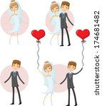 set of cartoon wedding pictures | Shutterstock .eps vector #174681482