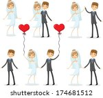 set of cartoon wedding pictures | Shutterstock .eps vector #174681512