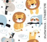 cute seamless pattern with... | Shutterstock .eps vector #1746887198