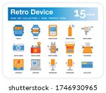 retro device icons set. ui...