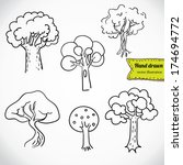 sketchy tree set isolated ... | Shutterstock .eps vector #174694772