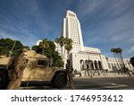Small photo of Los Angeles, California / USA - May 31, 2020: National Guard military police mobilize on downtown Los Angeles in an effort to quell the George Floyd Protests.