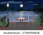 Street Restaurant At Night Fla...