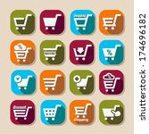 shopping cart long shadows icons | Shutterstock .eps vector #174696182