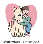 a boy is holding a large puppy. ...   Shutterstock .eps vector #1747040015
