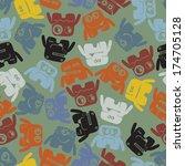 monsters   seamless pattern | Shutterstock .eps vector #174705128
