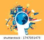 human activities in the modern... | Shutterstock .eps vector #1747051475