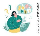 woman thinks over keto diet....   Shutterstock .eps vector #1747106708