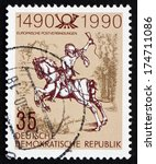 Small photo of GDR - CIRCA 1990: a stamp printed in GDR shows The Young Post Rider, an Engraving by Albrecht Durer, circa 1990