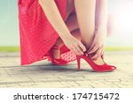 vintage photo of woman and... | Shutterstock . vector #174715472