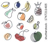 fruits icon set vector lines... | Shutterstock .eps vector #1747211405