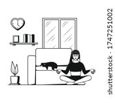 yoga from home. a woman sits in ... | Shutterstock .eps vector #1747251002