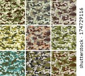 set of seamless camouflage...   Shutterstock . vector #174729116