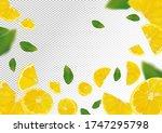 lemon background. flying lemon... | Shutterstock .eps vector #1747295798