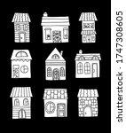 cute house vector set. little... | Shutterstock .eps vector #1747308605
