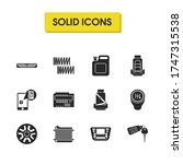 auto icons set with car...