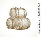 hand drawn wooden barrels on...   Shutterstock .eps vector #1747322342
