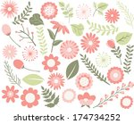 flowers and foliage   peach | Shutterstock .eps vector #174734252