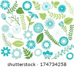 flowers and foliage   teal blue | Shutterstock .eps vector #174734258