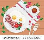 breakfast concept. tasty...   Shutterstock .eps vector #1747384208