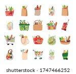 bundle of groceries set icons... | Shutterstock .eps vector #1747466252