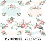 flowers  ribbons and laurels | Shutterstock .eps vector #174747428