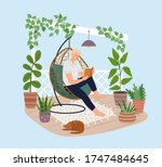 young man relaxing in hanging... | Shutterstock .eps vector #1747484645