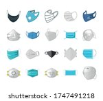 set of icons of medical mask on ... | Shutterstock .eps vector #1747491218