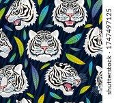 seamless pattern. white tiger... | Shutterstock .eps vector #1747497125