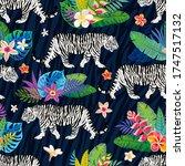 seamless pattern. white tiger...   Shutterstock .eps vector #1747517132
