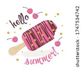pink ice cream with decorative... | Shutterstock .eps vector #1747534742