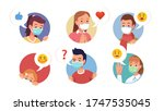 character faces wearing masks... | Shutterstock .eps vector #1747535045