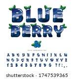 blueberry summer font. cartoon... | Shutterstock .eps vector #1747539365