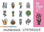 Modern Flower Icons. Contour...