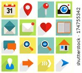 set of flat icons with long... | Shutterstock .eps vector #174755342