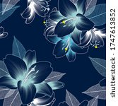 floral seamless pattern with... | Shutterstock .eps vector #1747613852