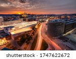 Sunset in Brno, Czech Republic. Orange sky in the city, long exposure. Beautiful sunset over a city