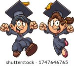 graduating excited boy and girl ... | Shutterstock .eps vector #1747646765
