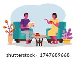 man and woman enjoy free time...   Shutterstock .eps vector #1747689668