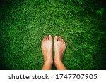 Barefoot On A Green Grass.