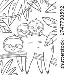 coloring page with cute sloth... | Shutterstock .eps vector #1747738592